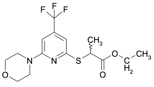 MFCD11052363 | 2-(6-Morpholin-4-yl-4-trifluoromethyl-pyridin-2-ylsulfanyl)-propionic acid ethyl ester | acints