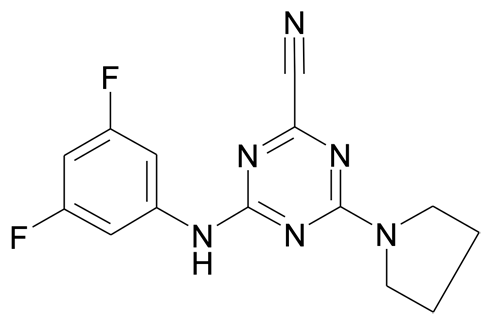 | MFCD19981406 | 4-(3,5-Difluoro-phenylamino)-6-pyrrolidin-1-yl-[1,3,5]triazine-2-carbonitrile | acints