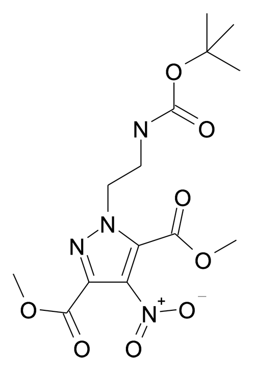 | MFCD24386145 | 1-(2-tert-Butoxycarbonylamino-ethyl)-4-nitro-1H-pyrazole-3,5-dicarboxylic acid dimethyl ester | acints