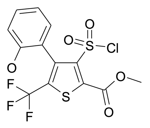 3-Chlorosulfonyl-4-(2-hydroxy-phenyl)-5-trifluoromethyl-thiophene-2-carboxylic acid methyl ester