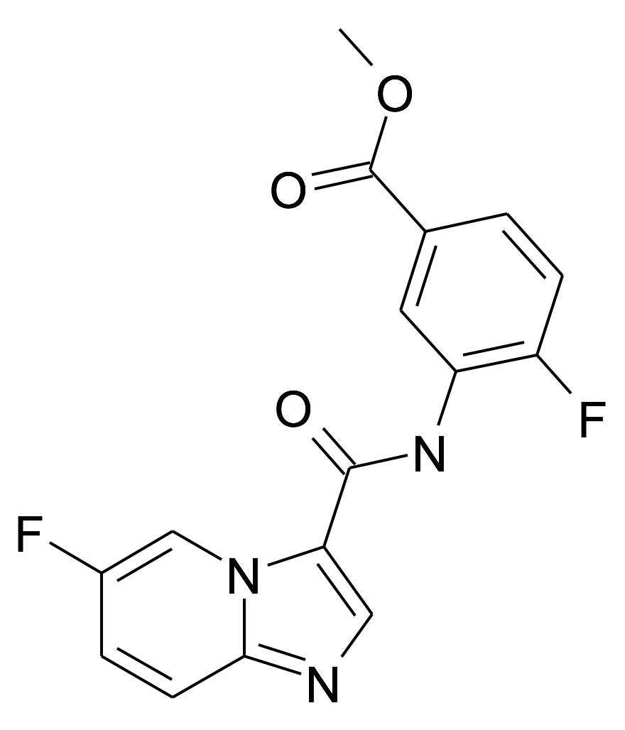 4-Fluoro-3-[(6-fluoro-imidazo[1,2-a]pyridine-3-carbonyl)-amino]-benzoic acid methyl ester