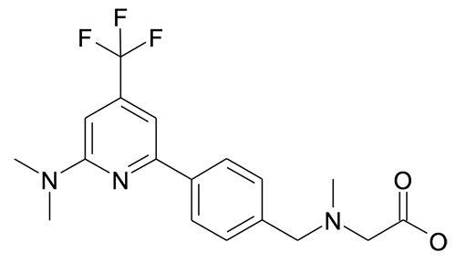 | MFCD19981274 | {[4-(6-Dimethylamino-4-trifluoromethyl-pyridin-2-yl)-benzyl]-methyl-amino}-acetic acid | acints