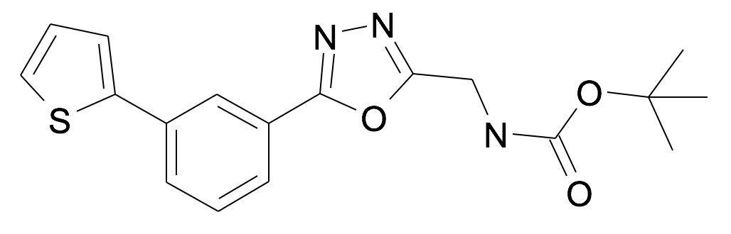 [5-(3-Thiophen-2-yl-phenyl)-[1,3,4]oxadiazol-2-ylmethyl]-carbamic acid tert-butyl ester