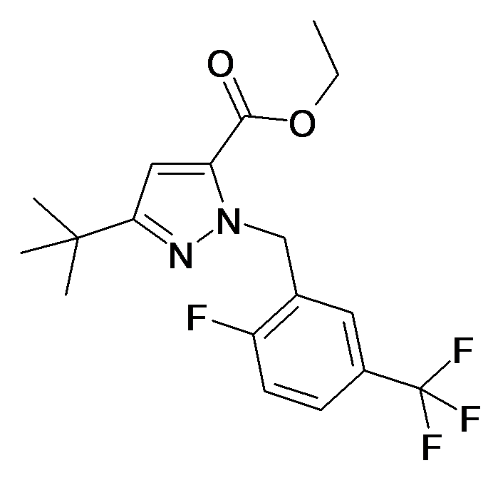 5-tert-Butyl-2-(2-fluoro-5-trifluoromethyl-benzyl)-2H-pyrazole-3-carboxylic acid ethyl ester
